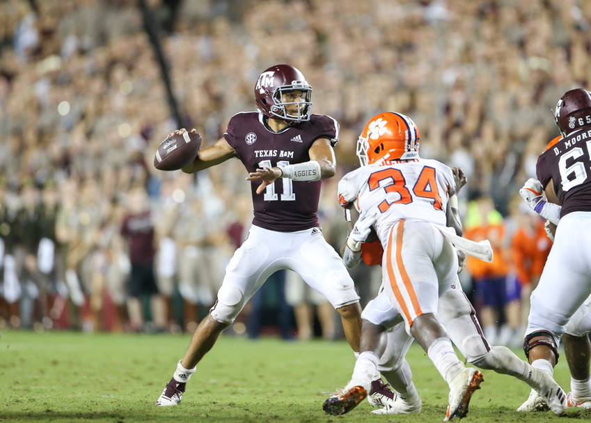 Texas A&M Aggies quarterback Kellen Mond (11) passes the ball during an NCAA football game between Texas A&M and Clemson on Saturday, Sept 8, 2018 in College Station, Texas.
