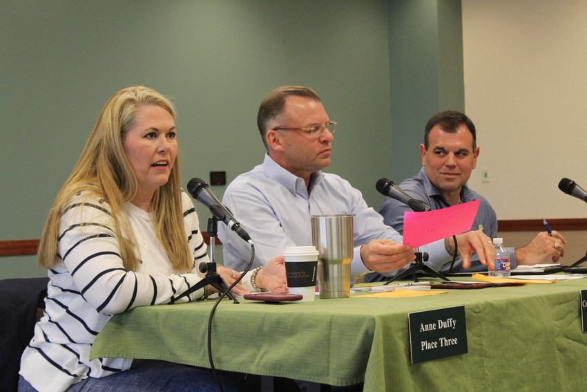 Cedar Park Council Member Anne Duffy, Mayor Corbin Van Arsdale and Council Member Michael Guevara address residents of Cedar Park at the city's first-ever 'Council Chat,' held on Sept. 4 at the Cedar Park Recreation Center.