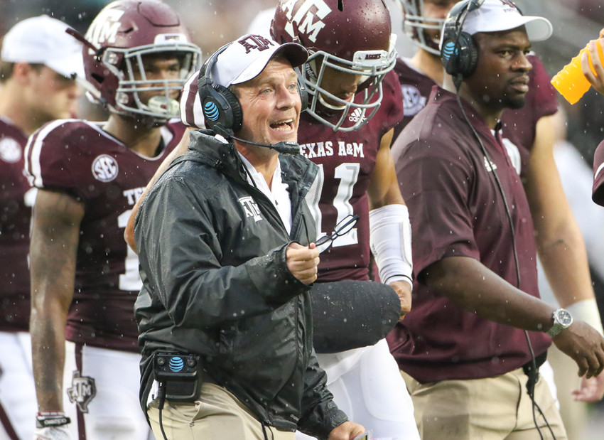 Texas A&M Aggies head coach Jimbo Fisher during an NCAA football game between Texas A&M and Clemson on Saturday, Sept 8, 2018 in College Station, Texas.