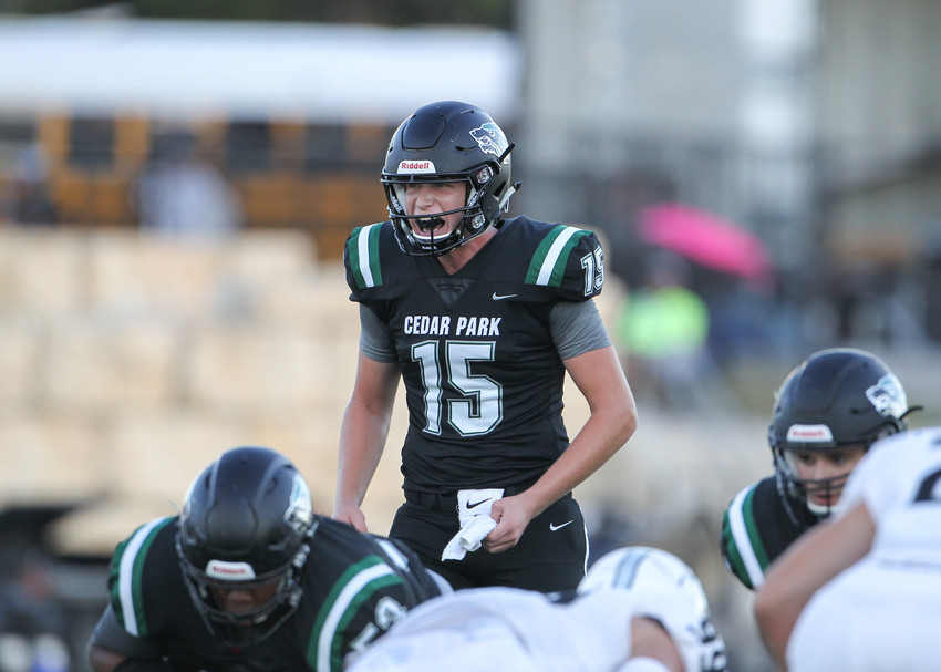 Cedar Park Timberwolves senior Ryan Fiala (15) prepares for a snap during a high school football game between the Cedar Park Timberwolves and the Vandegrift Vipers on Friday, Aug. 31, 2018 in Cedar Park, Texas.