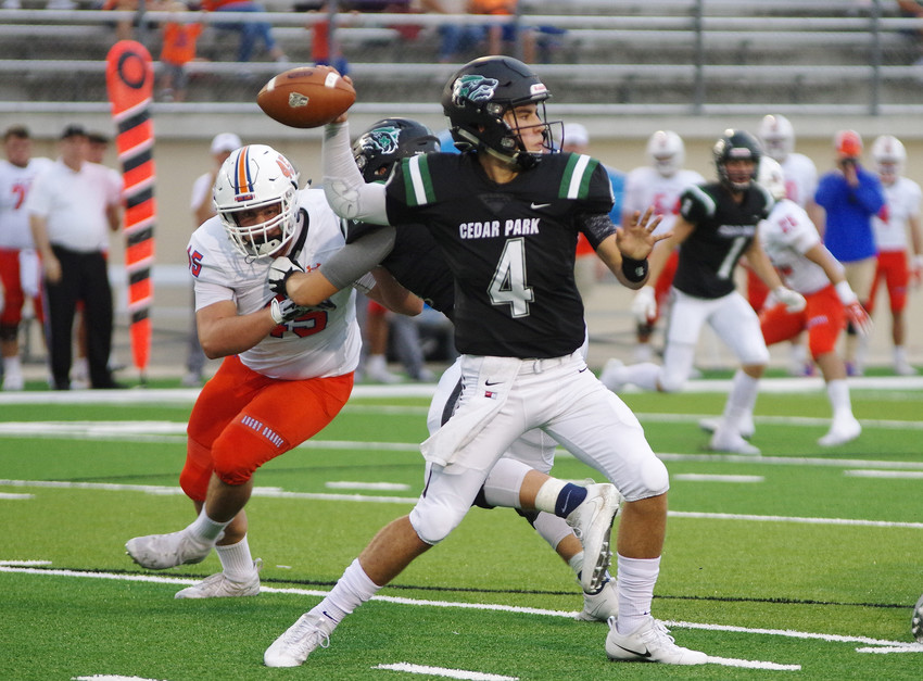 Cedar Park High School quarterback Ryder Hernandez (4) started the game with a great passing game against San Angelo at Gupton Stadium on September 14, 2018.