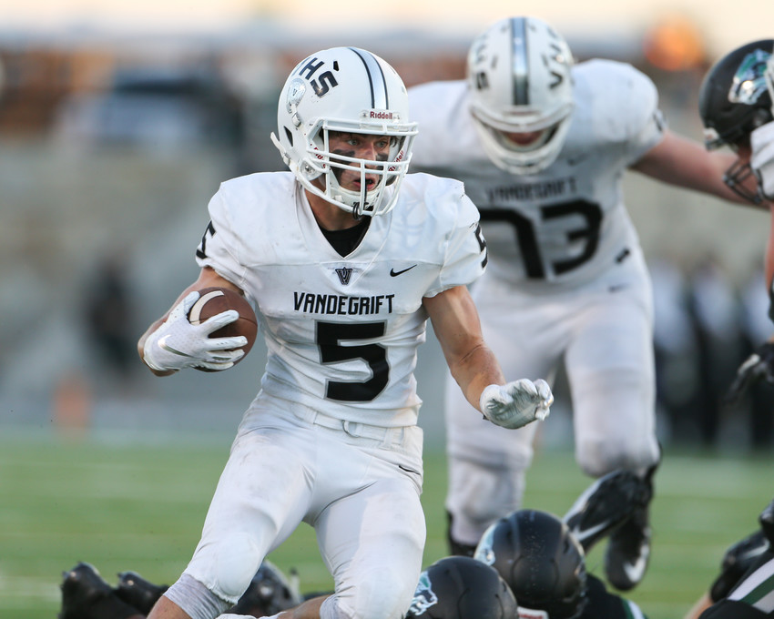 Vandegrift Vipers senior running back Brendan Bennett (5) carries the ball during a high school football game between the Cedar Park Timberwolves and the Vandegrift Vipers on Friday, Aug. 31, 2018 in Cedar Park, Texas.