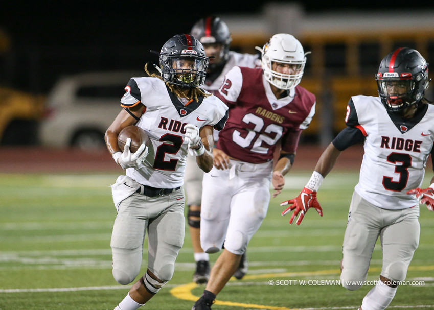 Vista Ridge Rangers running back Trey Walker (2) carriers the ball during a high school football game between the Rouse Raiders and the Vista Ridge Rangers on Friday, Aug. 31, 2018 in Leander, Texas.