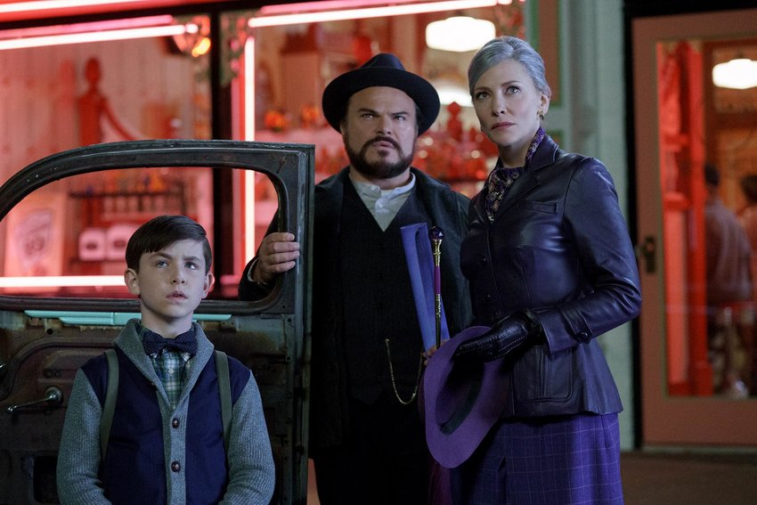 "Owen Vaccaro, left, plays the lead role in the new movie, ""The House With a Clock in Its Walls,"" with Jack Black and Cate Blanchett."