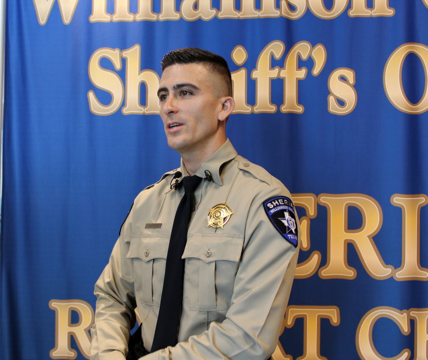 Newly sworn Deputy Eddie Cantu is a graduate the new Williamson County Basic Peace Officer course that is a partnership of major law enforcement departments in the county.