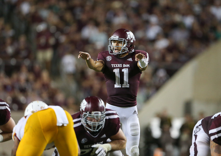 Texas A&M Aggies quarterback Kellen Mond (11) calls out protections during an NCAA football game between Texas A&M and ULM on Saturday, Sept. 15, 2018 in College Station, Texas.