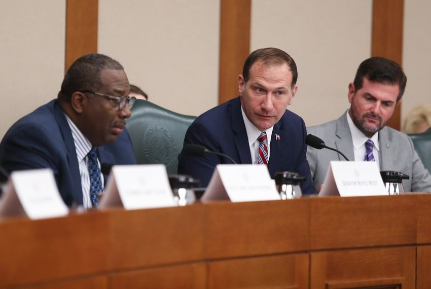 State Sen. Charles Schwertner, R-Georgetown (center), listens to testimony at a hearing held by the Senate Select Committee on Violence in Schools & School Security on June 11, 2018. Schwertner is flanked by fellow committee members Sens. Royce West, D-Dallas (left), and Brandon Creighton, R-Conroe.