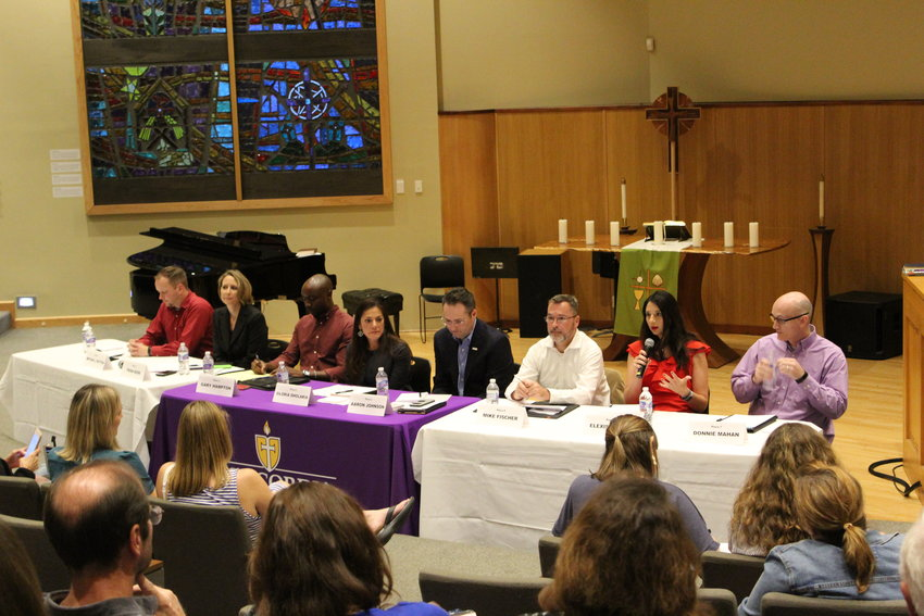 Nine of the 13 candidates running for four positions on the Leander ISD Board of Trustees attended a candidate forum at Concordia University last week.
