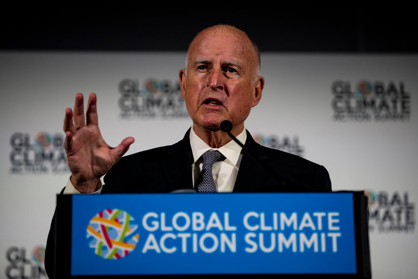 California Gov. Jerry Brown, shown on Sept. 13, 2018, signed the nation's toughest net neutrality measure on Sunday, prompting a lawsuit from the federal government.