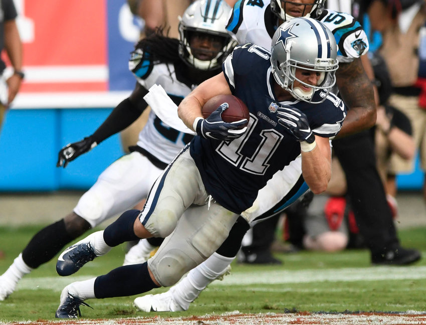 Dallas Cowboys wide receiver Cole Beasley (11) makes a reception against the Carolina Panthers on September 9, 2018, at Bank of America Stadium in Charlotte, N.C.