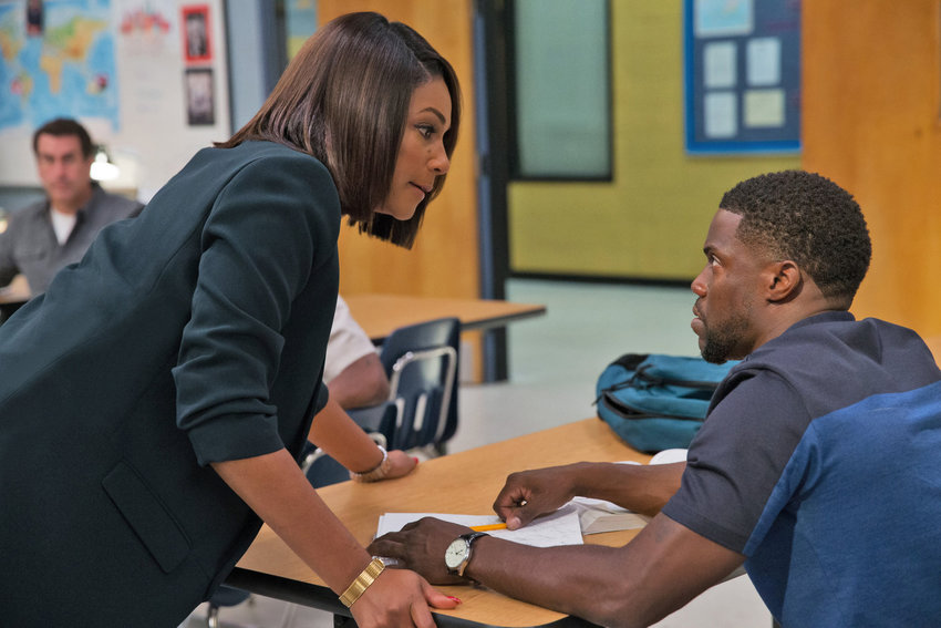 "Tiffany Haddish plays a teacher and Kevin Hart a returning adult student in the comedy ""Night School."""
