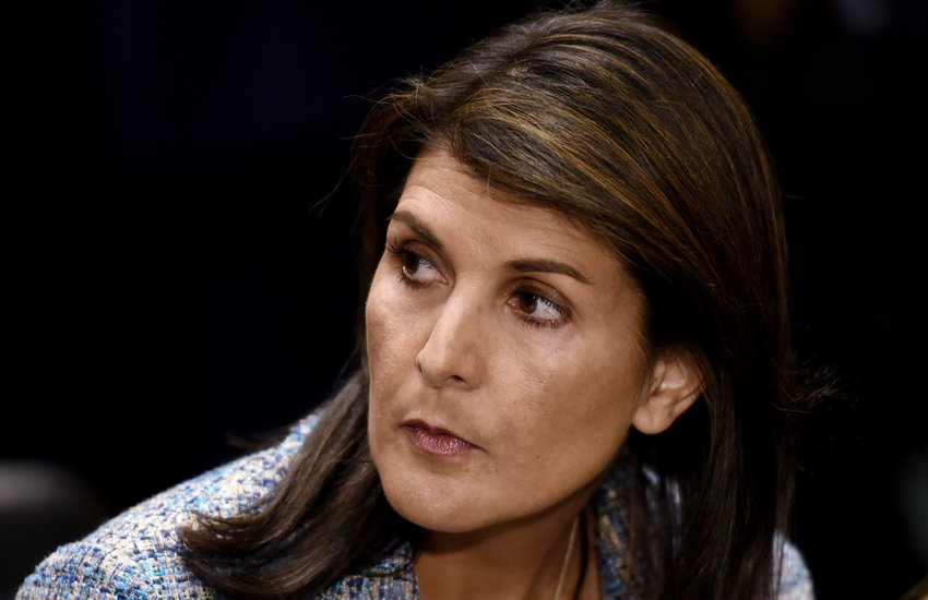 U.N. ambassador Nikki Haley attends Mike Pompeo's confirmation hearing before the Senate Foreign Relations Committee on April 12, 2018 in Washington, D.C. Haley has resigned, White House officials said.