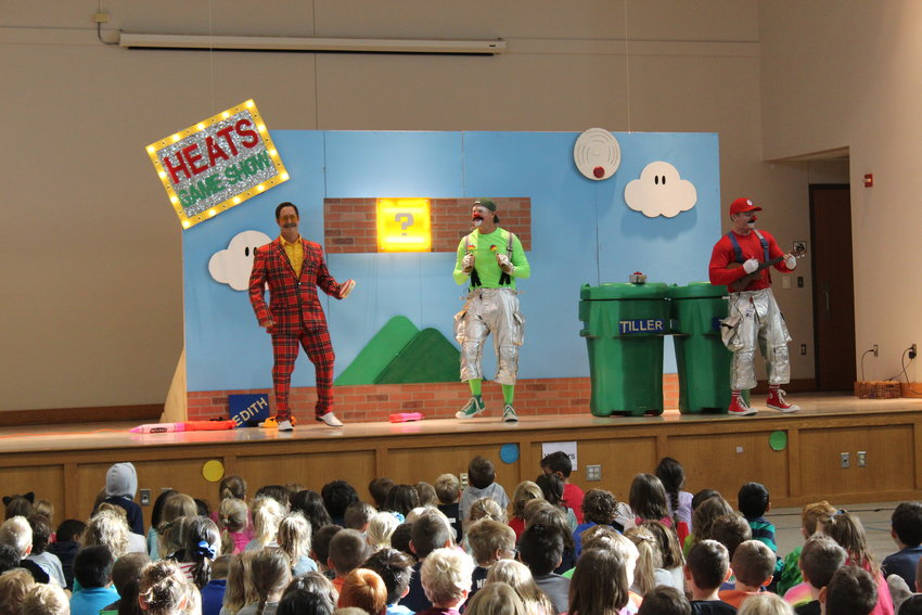 Members of the Cedar Park Fire Department's HEATS (Helping Educate About Today's Safety) team used a Super Mario Bros. skit to demonstrate fire safety to school children at Deer Creek Elementary in Cedar Park last week.