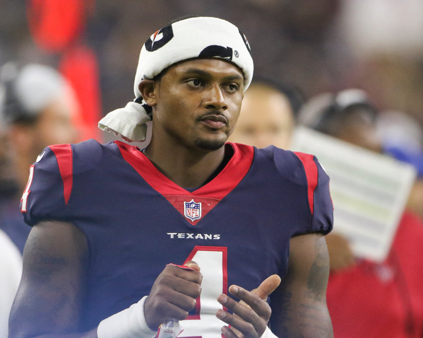 Houston Texans quarterback Deshaun Watson (4) looks on from the sideline during the first half of an NFL preseason game between the Houston Texans and the Dallas Cowboys, Thursday, Aug. 30, 2018 in Houston, Texas.