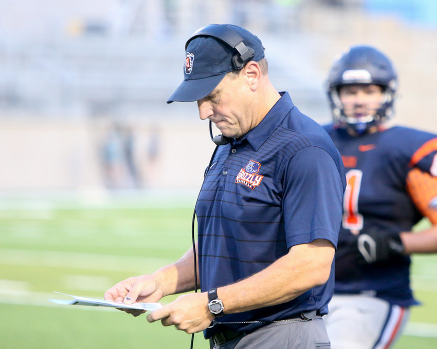 Glenn Grizzlies head coach Rob Schoenfeld during a high school football game between Glenn and McNeil on Friday, Sept 7, 2018 in Cedar Park, Texas.