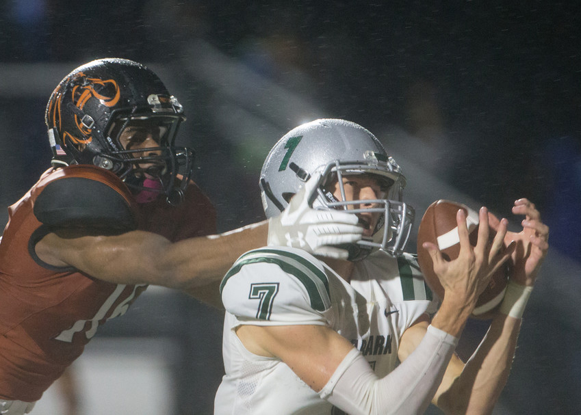 Cedar Park Timberwolves senior wide receiver Brandon Breed (7) brings in a 21-yard touchdown pass in the back of the end zone during the first half of a high school football game between Hutto and Cedar Park on Friday, Oct. 19, 2018 at Hippo Stadium in Hutto, Texas.