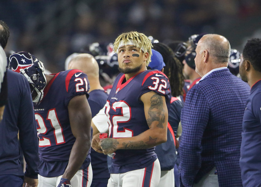 Houston Texans defensive back Tyrann Mathieu (32) on the sidelines during the first half of an NFL preseason game between the Houston Texans and the Dallas Cowboys, Thursday, Aug. 30, 2018 in Houston, Texas.