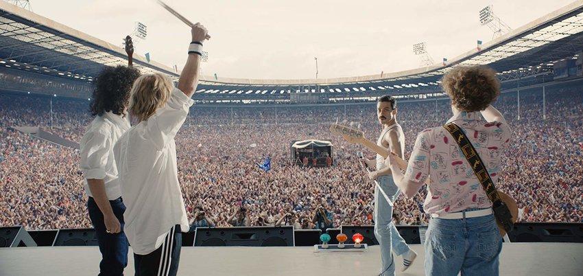 "Joseph Mazzello, Rami Malek, Gwilym Lee and Ben Hardy in ""Bohemian Rhapsody."""