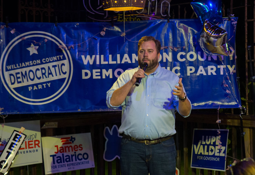 John Bucy addresses with supporters at an election watch party for area Democratic candidates on Tuesday, Nov. 6, 2018, at Mesa Rosa Mexican Restaurant in Austin, Texas. Bucy beat incumbent Republican Tony Dale in Texas House District 136.