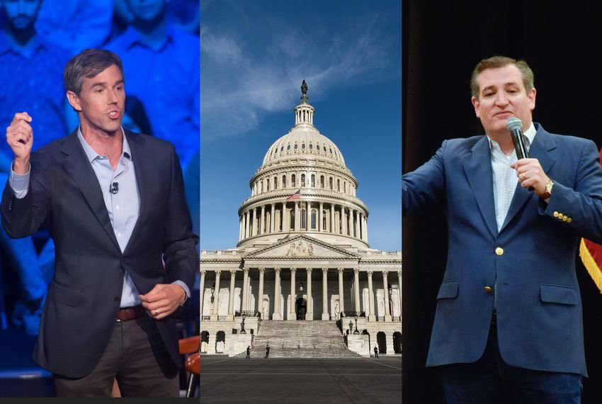 U.S. Rep. Beto O'Rourke, D-El Paso (left), the U.S. Capitol in Washington, D.C., and U.S. Sen. Ted Cruz.