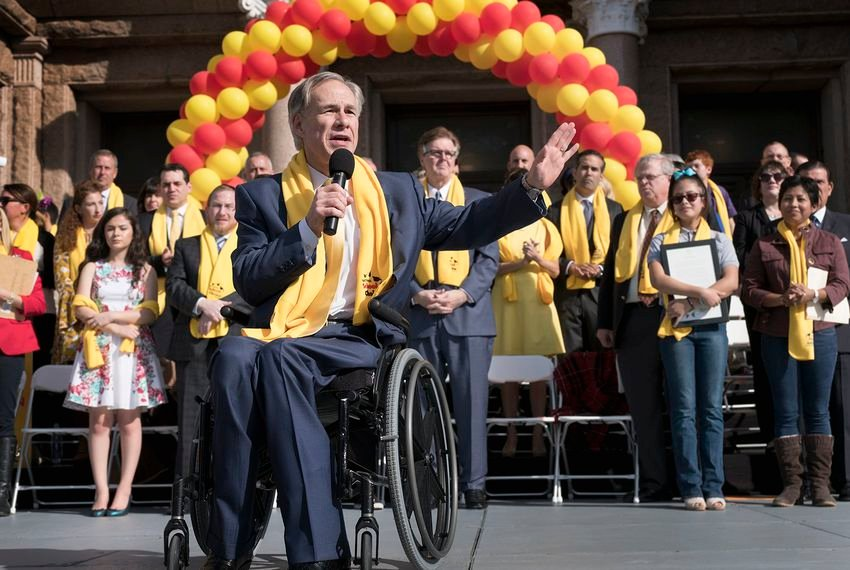 Gov. Greg Abbott speaks during a rally at the Capitol for school choice January 24, 2017. Both Abbott and Lt. Governor Dan Patrick spoke in favor of expanding school choice options. Students, educators, activists and parents marched on the south lawn to show their support for expanding school choice options during National School Choice Week.