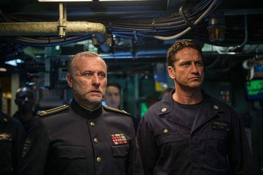 "Michael Nyqvist and Gerard Butler in ""Hunter Killer."""