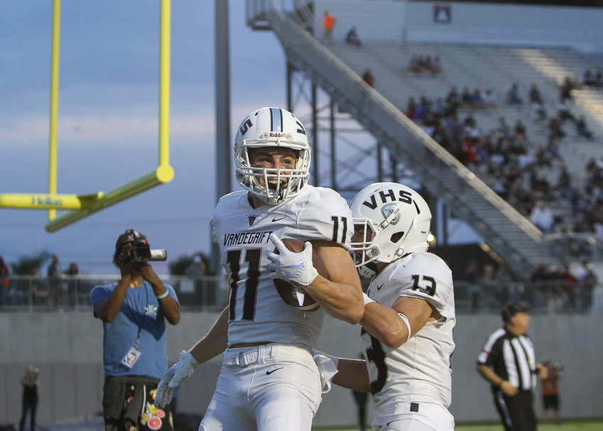 Vandegrift Vipers senior wide receiver Ryan Merrifield (11) celebrates after scoring a touchdown during a high school football game between Hendrickson and Vandegrift on Friday, Sept. 21, 2018 in Pflugerville, Texas.