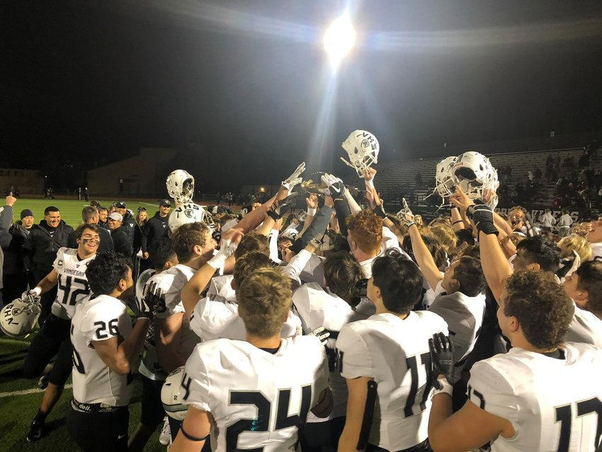 The Vipers celebrate a first-ever outright district title and undefeated regular season after a 28-7 victory over Stony Point at Dragon Stadium on Friday, Nov. 9.