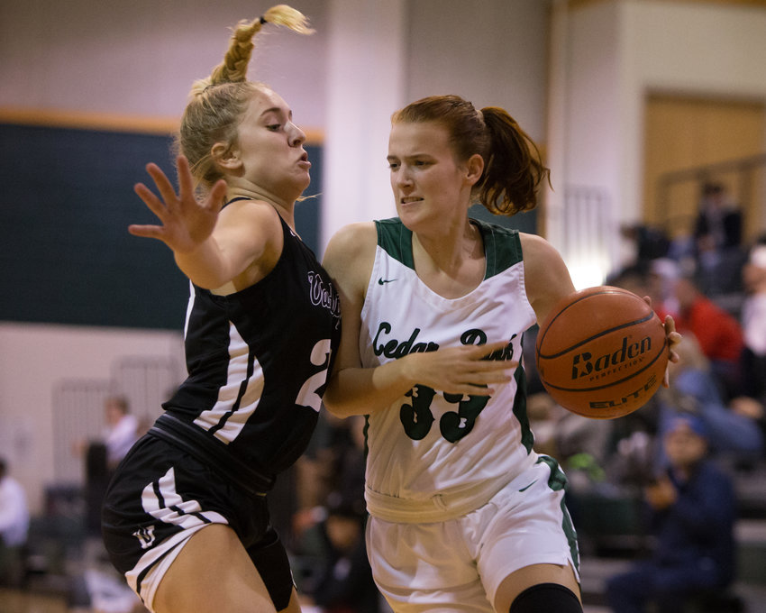 Cedar Park Timberwolves guard Callie Copeland (33) moves the ball during a high school girls basketball game between Cedar Park and Vandegrift at Cedar Park High School on Tuesday, Nov. 13, 2018 in Cedar Park, TX.