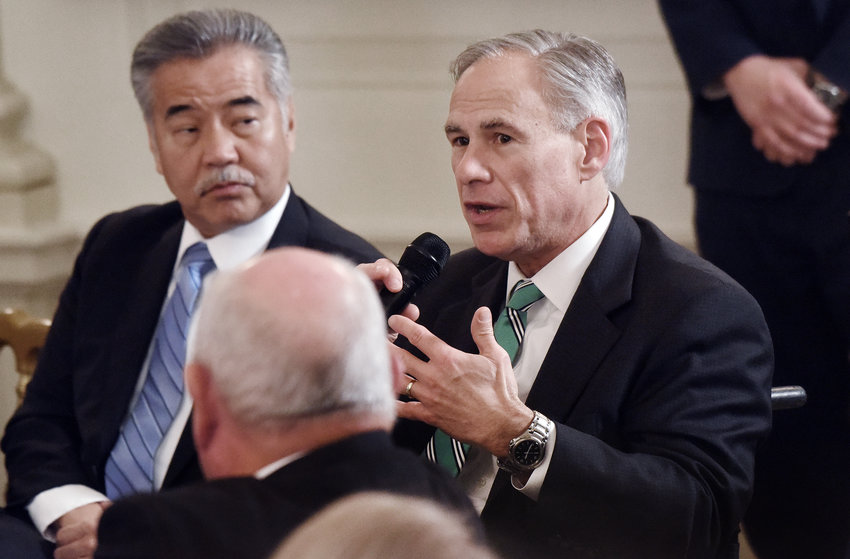 Texas Gov. Greg Abbott, speaking at the 2018 White House Business Session with the nation's governors on Monday, February 26, 2018.