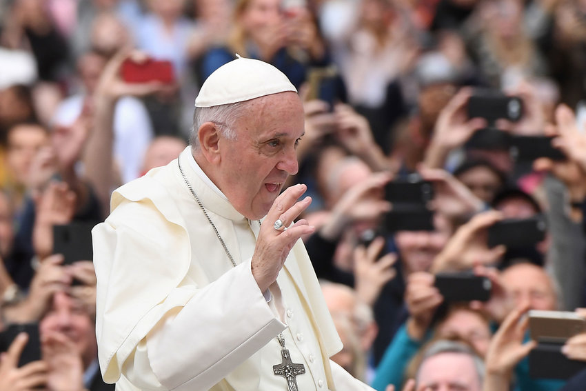 Pope Francis waves to the waiting crowds on College Green, Dublin, during his visit to Ireland on Saturday, Aug. 25, 2018. (Joe Giddens/PA Wire/Abaca Press/TNS)