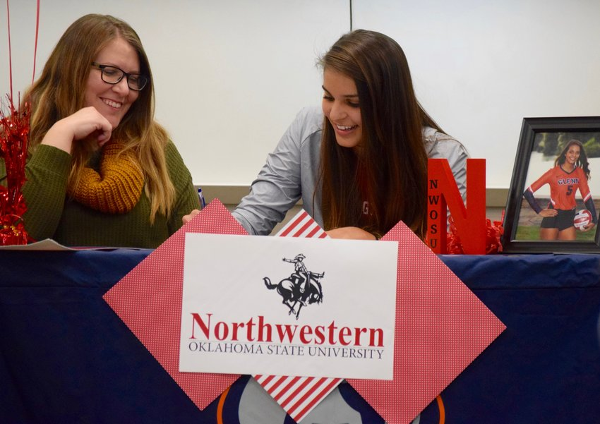 Glenn senior Sydney Carvajal signed her letter of intent to play volleyball at Northwestern Oklahoma State on Thursday. She is the first student-athlete from Glenn to sign on to play at the collegiate level.