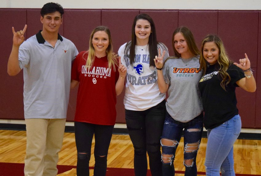 From left: Jared Southard will play baseball at Texas, Sydney Sheehan will play soccer at Oklahoma, MacKenzie Huntley will play volleyball at Seton Hall, Delaney Carrell will play soccer at UT-RGV and Bailey Vannoy will play softball at Charlotte. Not pictured: Connor Bennett will play baseball at Western Texas College.