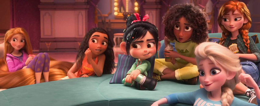 "Kristen Bell, Mandy Moore, Sarah Silverman, and Auli Cravalho in ""Ralph Breaks the Internet."""