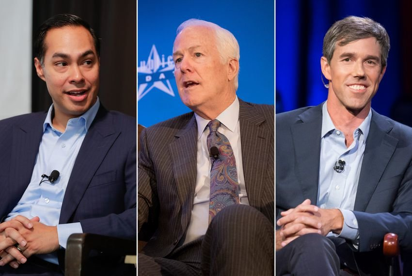 Left to right: Former HUD Secretary Julián Castro, U.S. Sen. John Cornyn and U.S. Rep. Beto O'Rourke, D-El Paso.