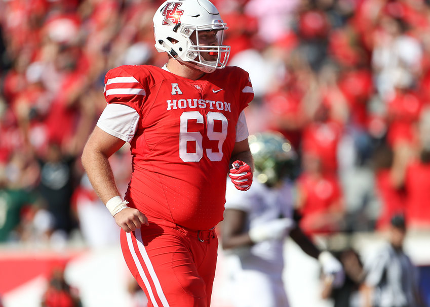 Houston Cougars offensive lineman Will Noble (69) during a college football game the University of Houston and the University of South Florida on Saturday, Oct. 27, 2018 at TDECU Stadium in Houston, Texas. Houston won, 57-36.
