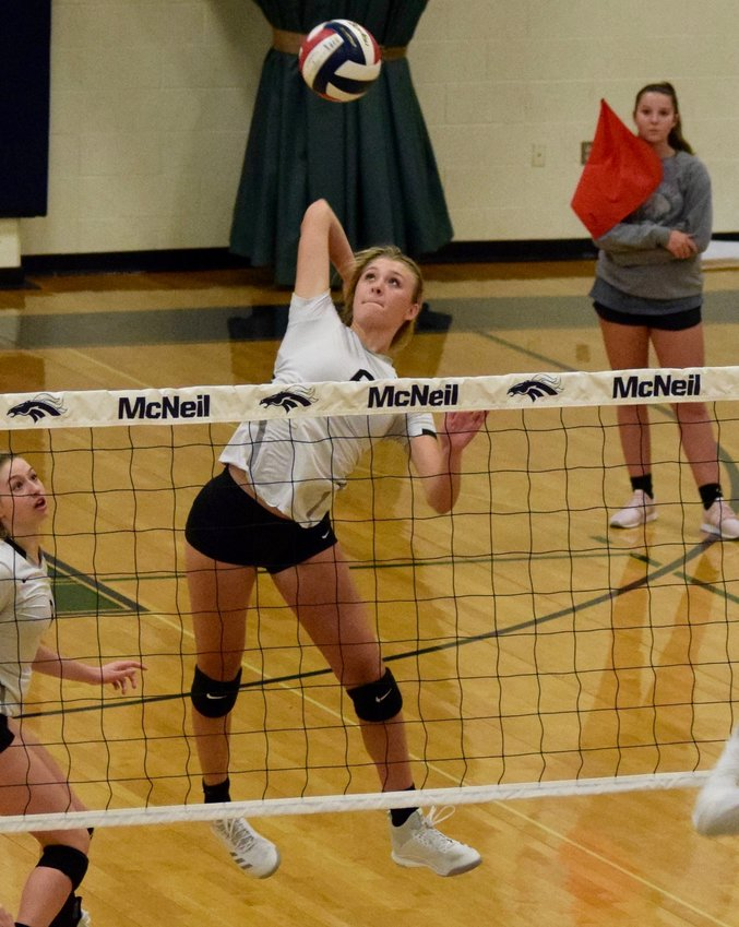 Annie Stadthaus returns to the Lady Vipers after being named District 13-6A MVP last season. She leads the team with 156 kills and 44 total blocks this season.