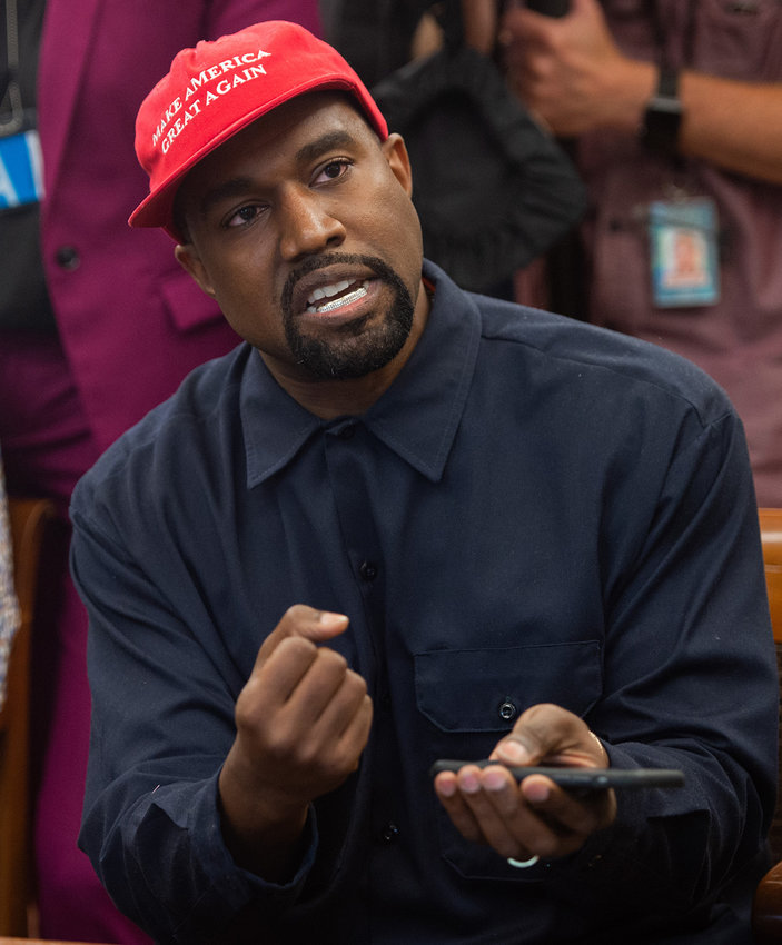 Rapper Kanye West speaks during his meeting with US President Donald Trump in the Oval Office of the White House in Washington, D.C., on Oct. 11, 2018. (Saul Loeb/AFP/Getty Images/TNS)