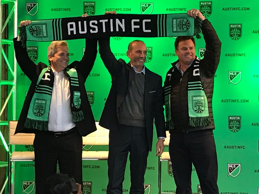 From left, Austin Mayor Steve Adler, MLS Commissioner Don Garber and Austin FC investor/operator Anthony Precourt officially announced that the club would join the league in 2021 on Tuesday afternoon.