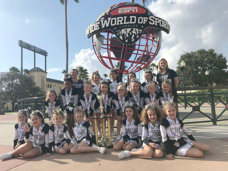 The Four Points area Pop Warner Junior Pee Wee Black team cheerleaders finished first at the national championships in Orlando, Florida last month.