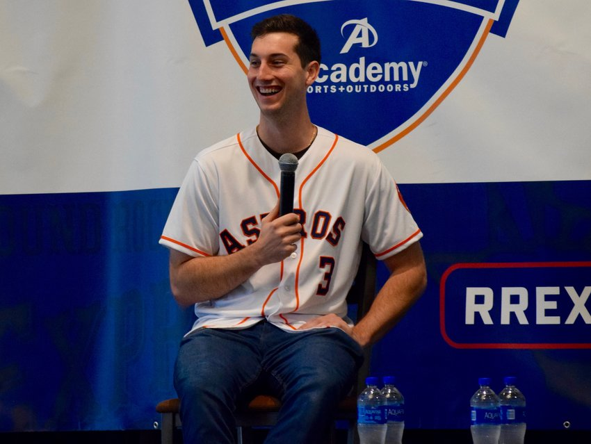 Houston Astros 2015 first-round draft pick Kyle Tucker spoke to fans at the Houston caravan last week. Pitchers Chris Devenski and Josh James, as well as Express Founder and Astros President of Business Operations Reid Ryan, were also in attendance.
