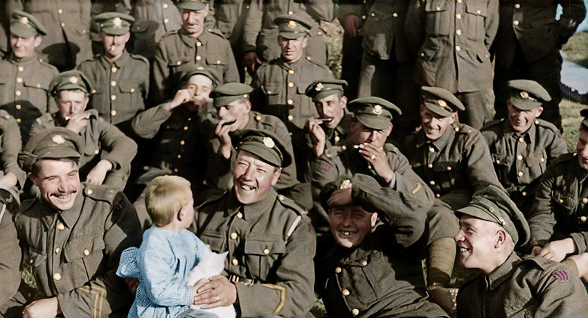 "Century-old archival footage of British infantrymen in the World War I trenches gets cleaned up, digitized, colorized and dramatically heightened by ""Lord of the Rings"" director Peter Jackson."
