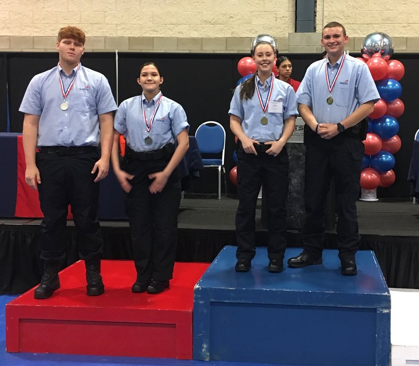 Glenn High School Criminal Justice students Tara Wallace, Kevin Hirst, Meagan Staniszewski and William Bassat earned medals in Felony Traffic Stop at the District 10 SkillsUSA competition.