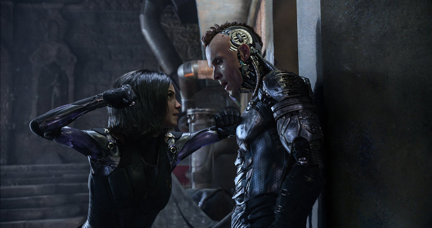 "Rosa Salazar and Ed Skrein in ""Alita: Batle Angel."""