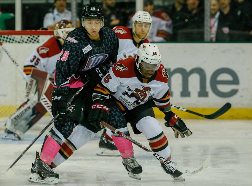 Robbie Payne, right, scored his first career professional goal and the Stars beat the Tucson Roadrunners 2-0 on Saturday night. The Roadrunners rebounded in the second game of the series, winning 4-1 on Saturday night.