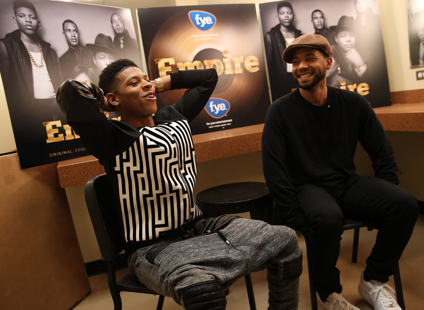 Bryshere Gray, left, and Jussie Smollett are seen during an interview at the Harold Washington Cultural Center on Friday, March 27, 2015, in Chicago.