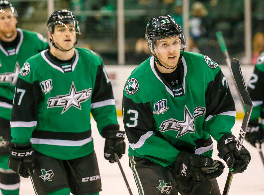Niklas Hansson, right, finished with a goal and two assists as the Stars beat the San Antonio Rampage 7-4 on Sunday night.