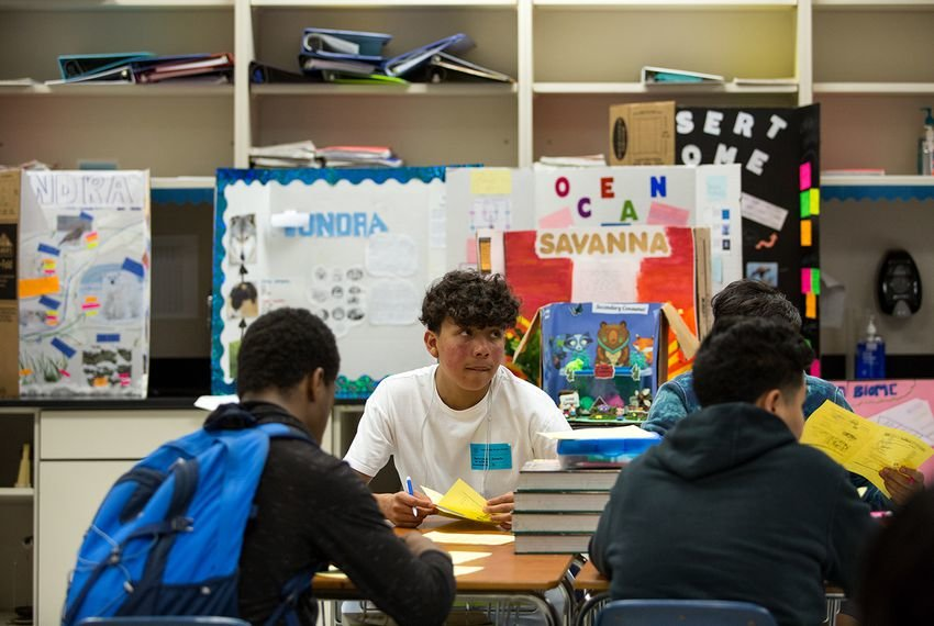 Daniel Saldana, a student at Elsik High School in Houston, looks up during a quiz about biomolecules.