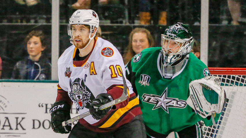 Landon Bow, right, and the Texas Stars lost to the Chicago Wolves 4-1 at home on Friday night.