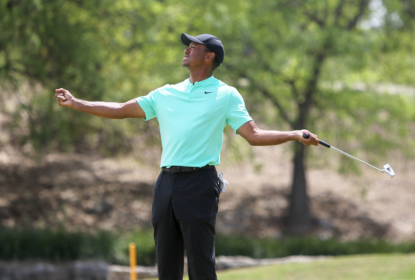 Tiger Woods reacts after missing a putt on the No. 11 green at the 2019 World Golf Championships-Dell Technologies Match Play on Thursday, March 28, 2019 at the Austin Country Club.